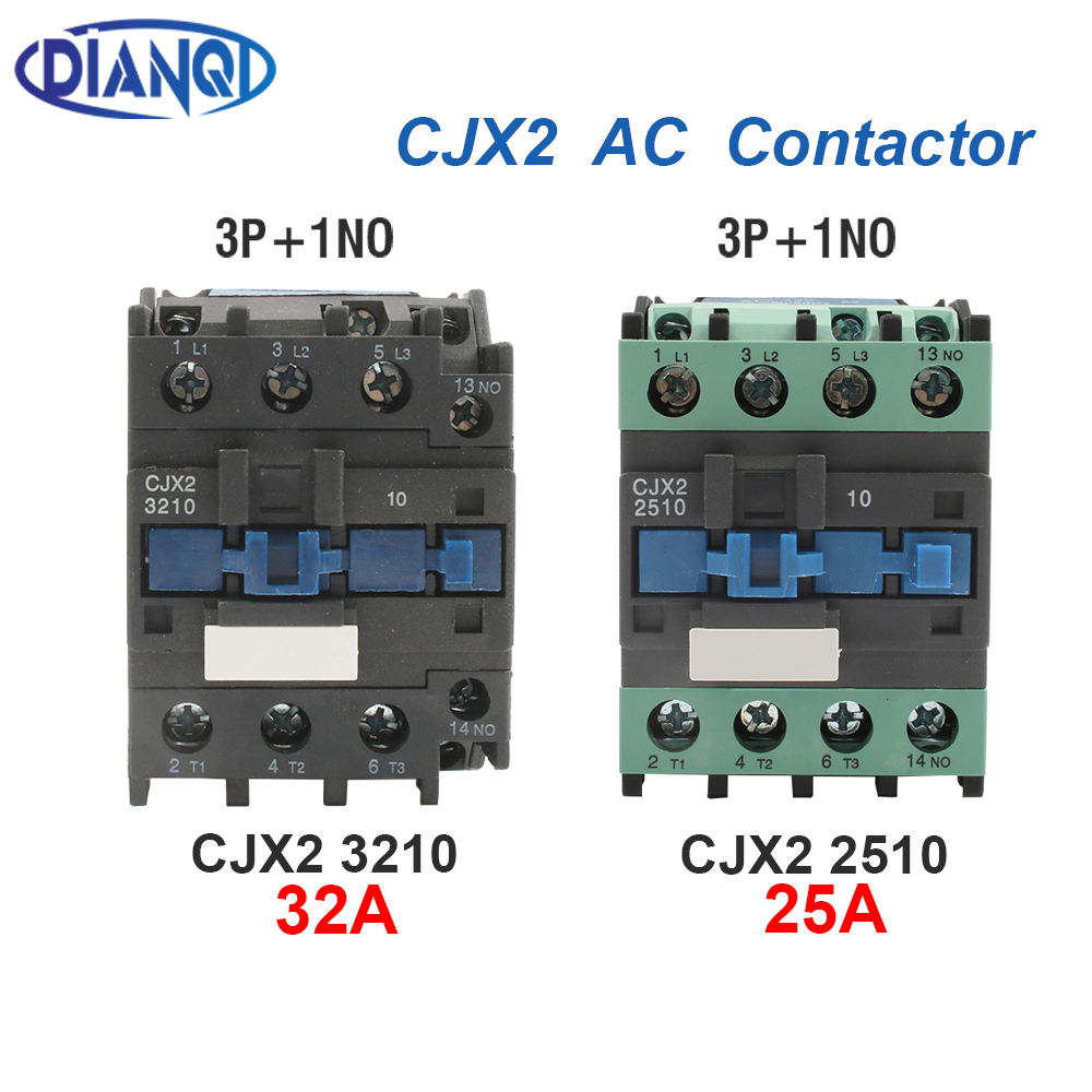 <font><b>CJX2</b></font>-3210 <font><b>2510</b></font> LC1-D AC Contactor 24V 36V 48V 220V 380V Din Rail Mounted 3P+1NO Use with float switch Motor Starter Relay image