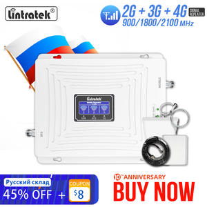 усилитель сотовой связи 4g репитер gsm 2g 3g Lintratek диапазона 900 1800 2100 WCDMA UMTS LTE сотовый ретранслятор домашние усилители домашние тройной band сотовы...