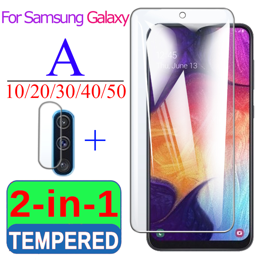 2in1 protective <font><b>glass</b></font> for <font><b>Samsung</b></font> galaxy a10 a20 a30 a40 a50 screen protector <font><b>a</b></font> 10 20 30 <font><b>40</b></font> 50 cam with camera lens glas sam 20a image