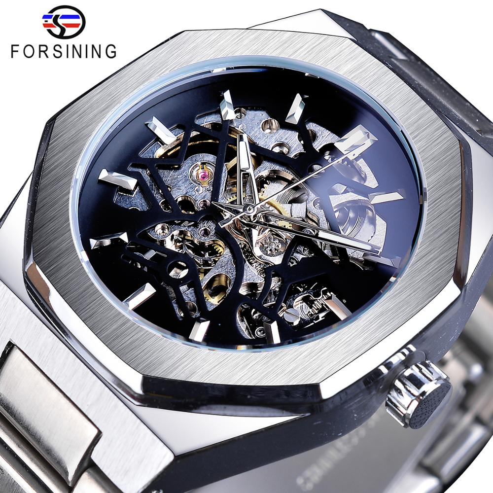 Forsining Silver Mens Watches Top Brand Luxury Automatic Mechanical Stainless Steel Fashion Skeleton Waterproof Business Clock