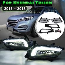 For Hyundai Tucson 2015 2016 17 2018 1 Pair White Led Drl Daytime Running Lights Daylight 12V Abs Fog Lamp Cover Car Accessories