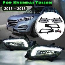 Için Hyundai Tucson 2015 2016 17 2018 1 Çift Beyaz Led Drl Gündüz Farları Gündüz 12 V Abs Sis lamba Kapağı Araba tasarım