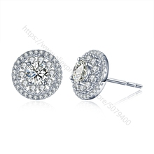 Halo Stud Earrings white Gold color Plated round cubic zircon Hypoallergenic Halo CZ Dia-mond Earrings Round Halo Stud Earrings