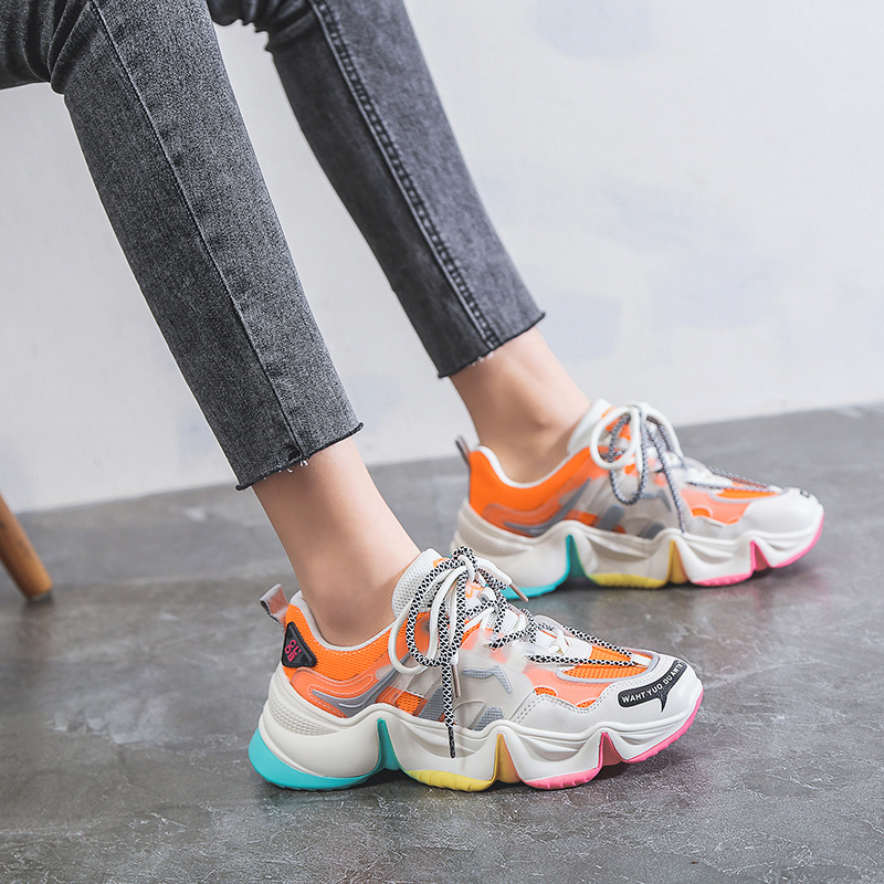 Women Chunky Sneakers Designers Mixed Colors Lace Up Old Dad Shoes Fashion Platform Female Sports Casual Shoes Woman 2020