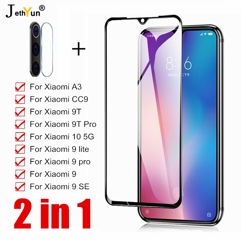 2 In 1 Tempered Glass For Xiaomi 10 5G A3 CC9 9 Lite Screen Protector For Xiaomi 9 9T Pro Mi9 SE Camera Protective Lens Film