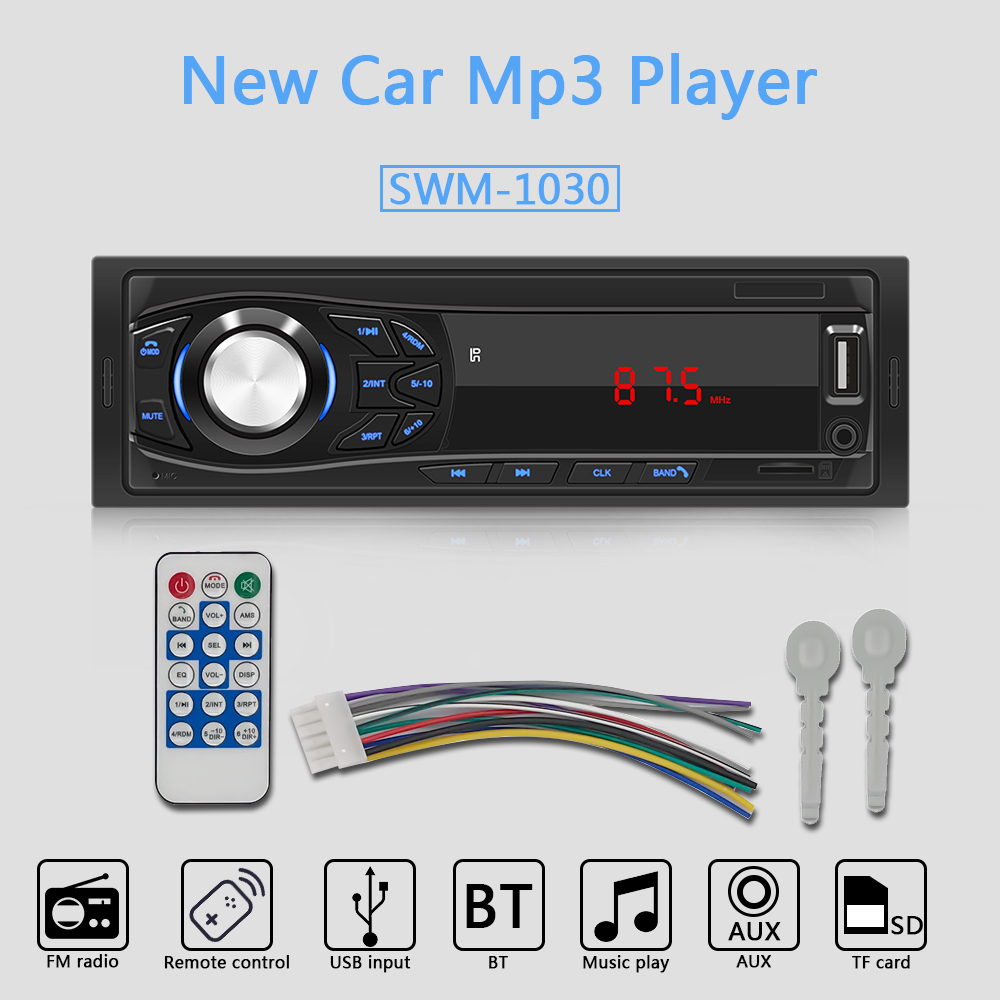 1-Din Car Stereo Audio Bluetooth MP3 Player LED Screen AUX USB FM Support MP3 Radio for Car Remote Control Music Player SWM-1030 image