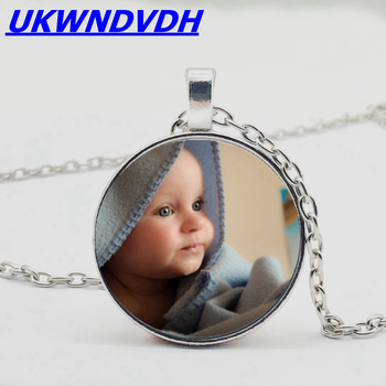 DIY custom photo necklace baby family brothers sister family grandmother family personality classic bump glass necklace image