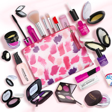Girls Make Up Toy Set Pretend Play Princess Pink Makeup Beauty Safety Non toxic Kit Toys for Girls Dressing Cosmetic Travel Bag
