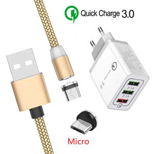 Micro-Usb-Cable Phone Fast-Charger Oppo Magnetic Huawei Android Samsung Galaxy Qc-3.0