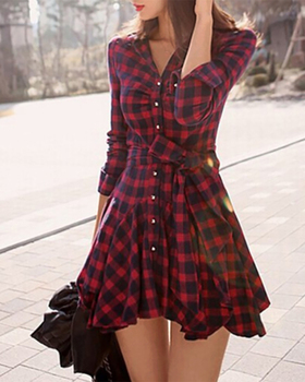 2020 Women Elegant Slim Fit Dress Plaid Ruffles Hem Button Front Shirt Fashion Casual