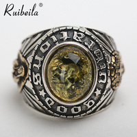 New authentic 925 silver Virgin Mary amber ring retro atmosphere men cool ring gem ring trendy jewelry gift