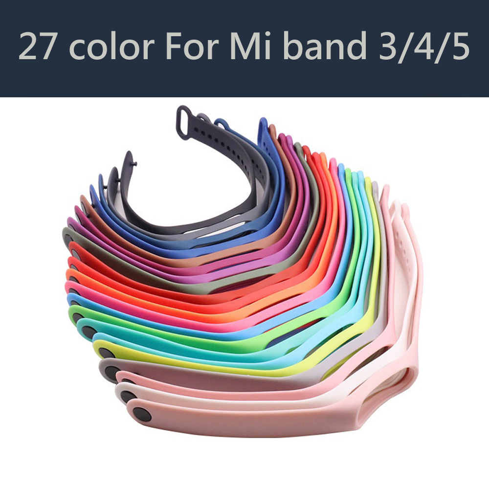 27 color Strap for Xiomi Mi band 4 correa Bracelet for Mi band 5 Silicone Sport Wristband Watchband Strap for Mi band 4 Bracelet(China)
