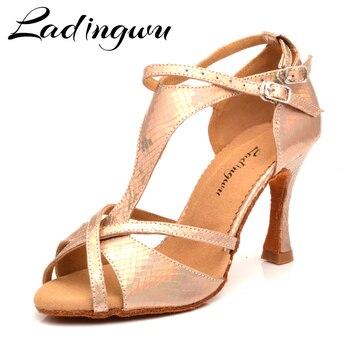 Ladingwu Dance Shoes Woman Latin Discoloration Snake texture Gold PU Salsa Dance Shoes 9cm Cuban Heel Tango Professional Shoes g d wilson cuban dance op 86