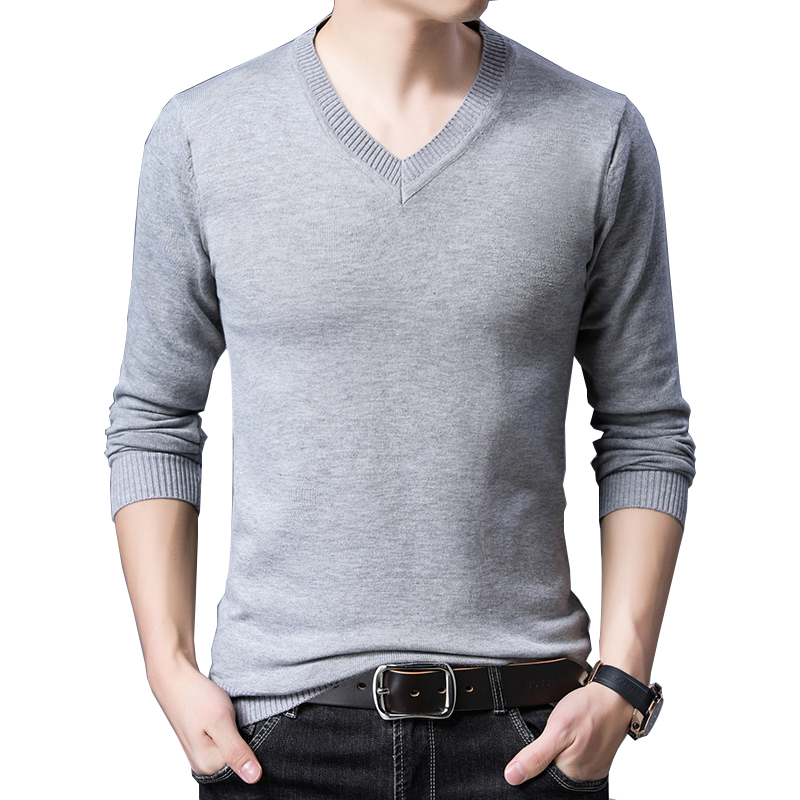 BROWON Brand Sweater Autumn Slim Fit Sweaters Men Casual Solid Color Sweater V Neck Pullovers Black Grey Pullover Men Pullover