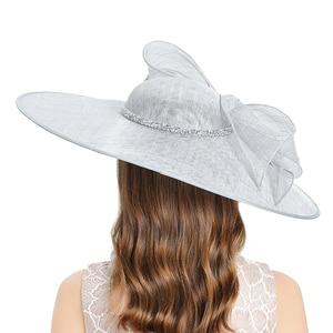 Image 5 - Kraliyet düğün kilise Fedoras bayan şapkaları düğün kadın şapka zarif gri Fascinator melon kap yay keten geniş brim şapka kadın