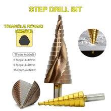 Conjuntos de broca passo hss escalonado passo drizzle broca brocas de metal lâmina titânio revestido ferramenta de madeira pisou brocas de metal