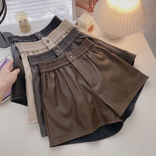 Shorts women autumn 2021 new Korean style outer wear elastic waist PU leather boots pants fashionable wide-leg casual pants