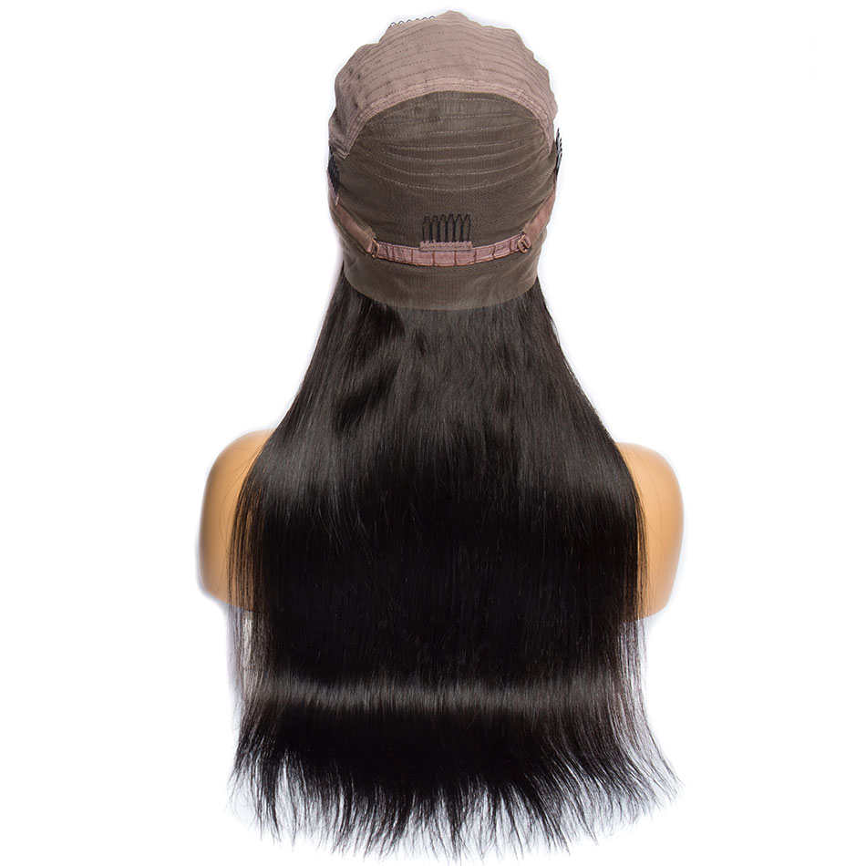 Image 2 - ALIBELE 360 Lace Frontal Wig Pre Plucked With Baby Hair 150 Density Brazilian Remy Straight Glueless Lace Front Human Hair Wig-in Human Hair Lace Wigs from Hair Extensions & Wigs