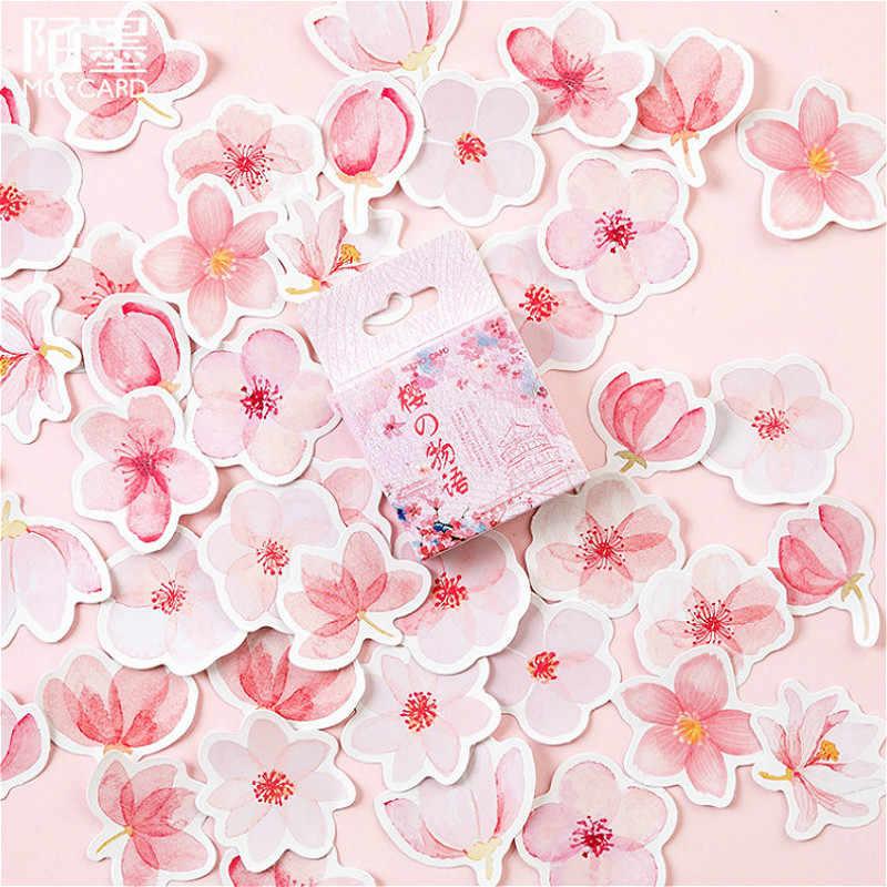 45 قطعة/صندوق أزهار الكرز الوردي ملصقات جدار الأطفال ديكور المنزل الحضانة صور مطبوعة للحوائط ملصقات جدار للأطفال غرفة خلفية