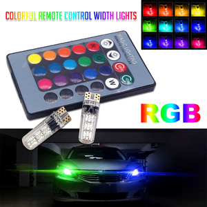 2Pcs T10 W5W LED Car Lights T10 LED Bulbs RGB With Remote Control 194 168 501 Strobe Led Lamp Reading Light White Red Blue Green