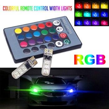 СВЕТОДИОДНЫЙ Автомобильный светильник T10 W5W, 2 шт., светодиодный RGB лампы с пультом дистанционного управления, 194 168 501, светодиодный стробоско...