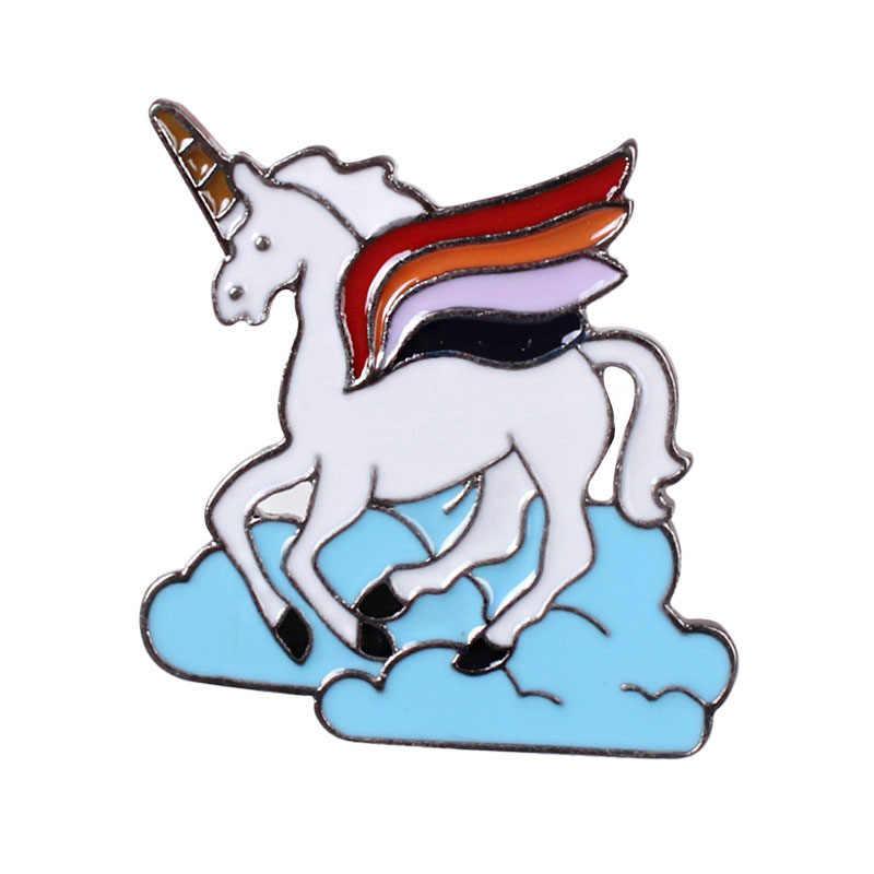 Unicorn Bros dan Enamel Lucu Unicorn Kuda Kerah Pin