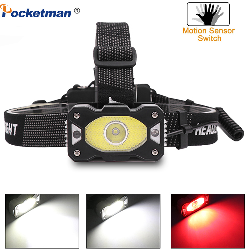 IR Sensor Headlamp USB Rechargeable LED Headlight Body Motion Sensor Head Torch Light Lamp With USB Best For Camping, Fishing