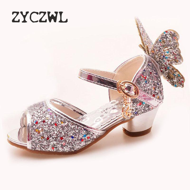 Girls Sandals Rhinestone Butterfly pink Latin dance shoes 5-13 years old 6 children 7 summer high Heel Princess shoes kids shoes