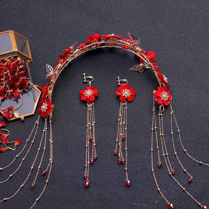 FORSEVEN Set-Accessories Jewelry-Set Earrings Flower Traditional Bridal Luxury Headdress