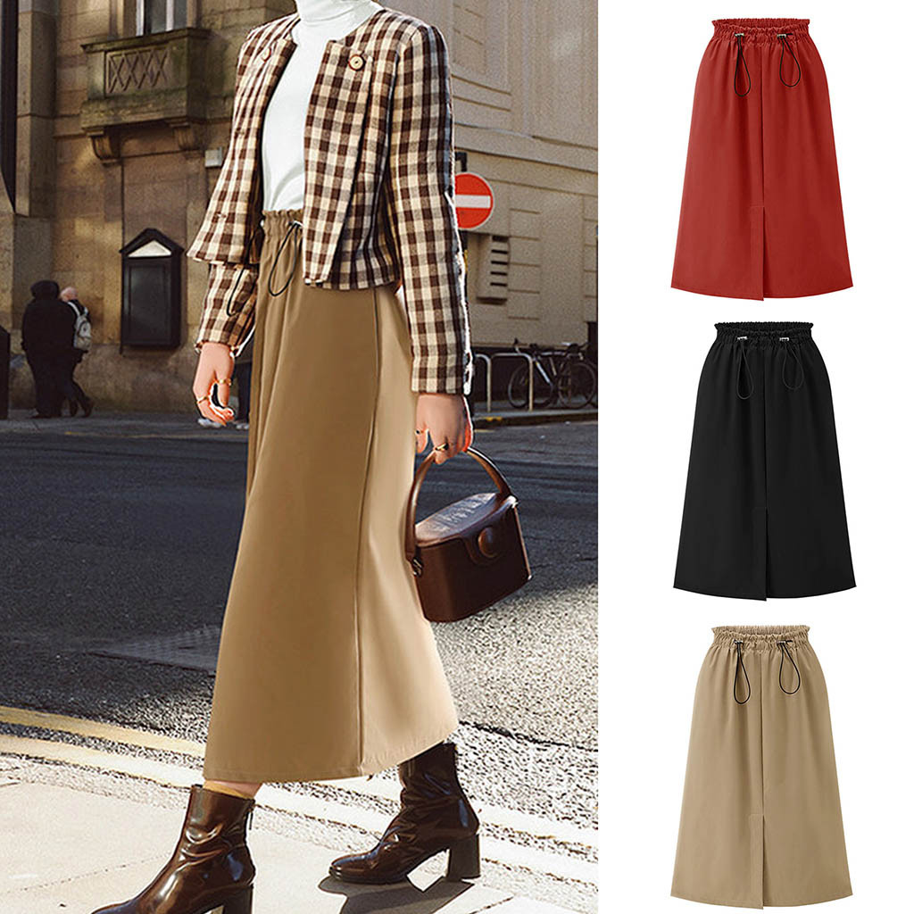 Women Autumn Skirts High Waist Drawstring Skirt Solid Tulle Split Straight Party Skirts Plus Size M-5XL jupe plissé femme 50*