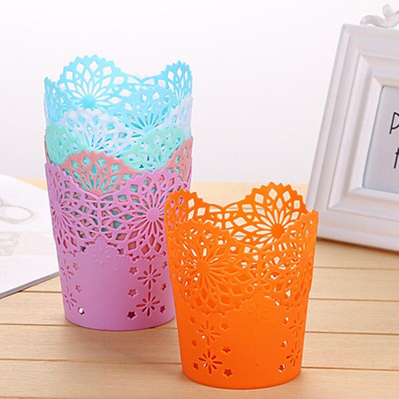 1PC Flower Plant Pot Makeup Brush Storage Boxes Pen Pencil Pot Holder Container Office Desk Organizer Multifunctional