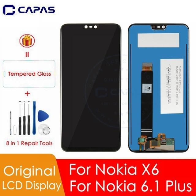 Originele Voor Nokia X6 Lcd scherm Touch Screen Panel Voor Nokia 6.1 Plus LCD Digitizer Touchscreen Vervanging Onderdelen Reparatie Onderdelen