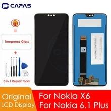 الأصلي لنوكيا X6 شاشة الكريستال السائل لوحة شاشة لمس لنوكيا 6.1 زائد LCD محول الأرقام لمس استبدال قطع الغيار إصلاح
