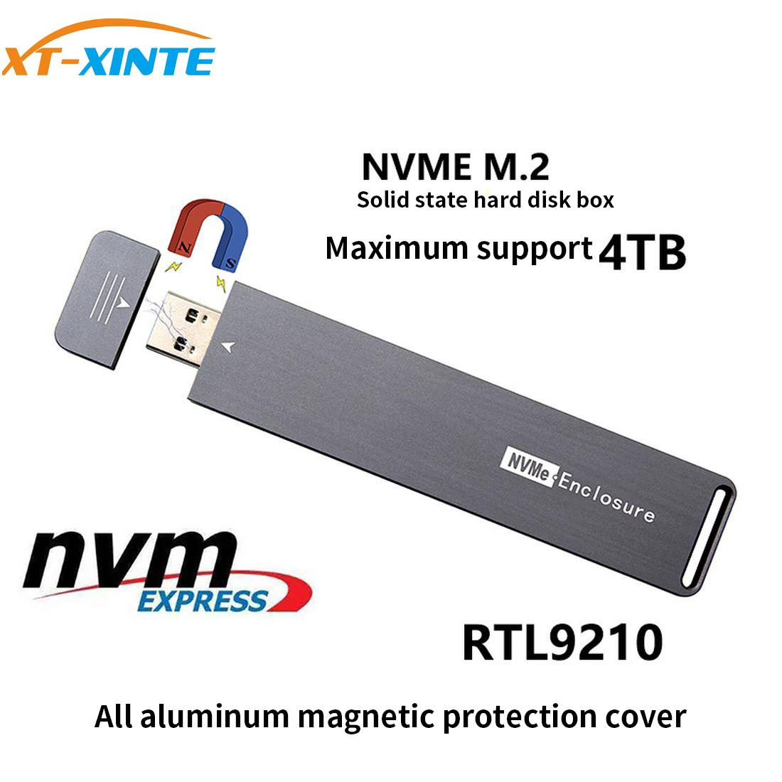 USB 3.0 M.2 NVME External Hard Enclosure PCI-e X4 X2 M2 To Type A M Key SSD Case Box Support 2280 2260 2242 4TB HDD Card Adapter