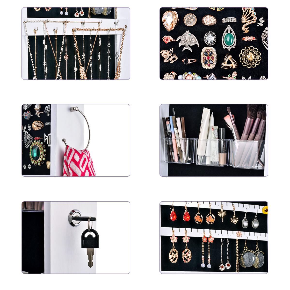 Multifunctional LED Jewelry Mirror Cabinet Wall Door Mounted Jewelry Cabinet Lockable Armoire Organizer Dresser Mirror with LED 5