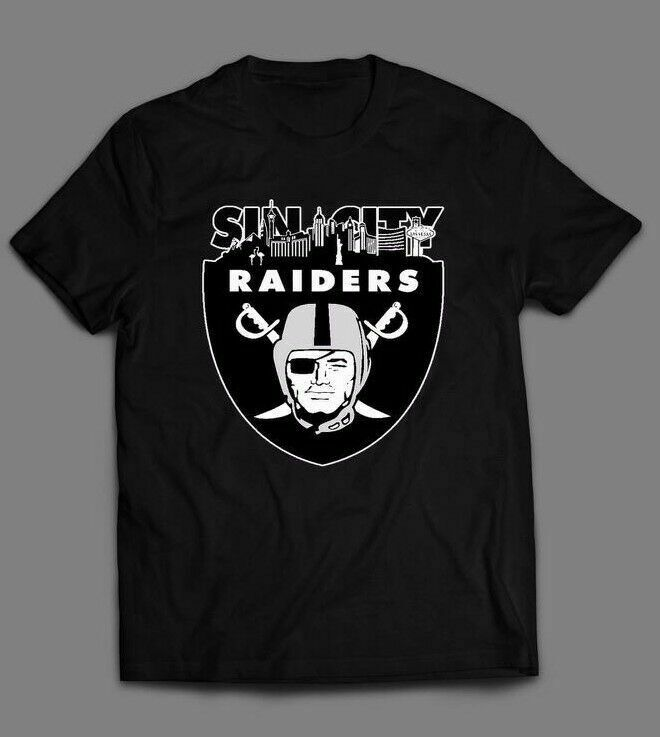 LAS VEGAS RAIDERS SIN CITY CUSTOM OLDSKOOL ARTWORK T-Shirt FULL FRONT DTG Tee Shirt Round Neck Tops