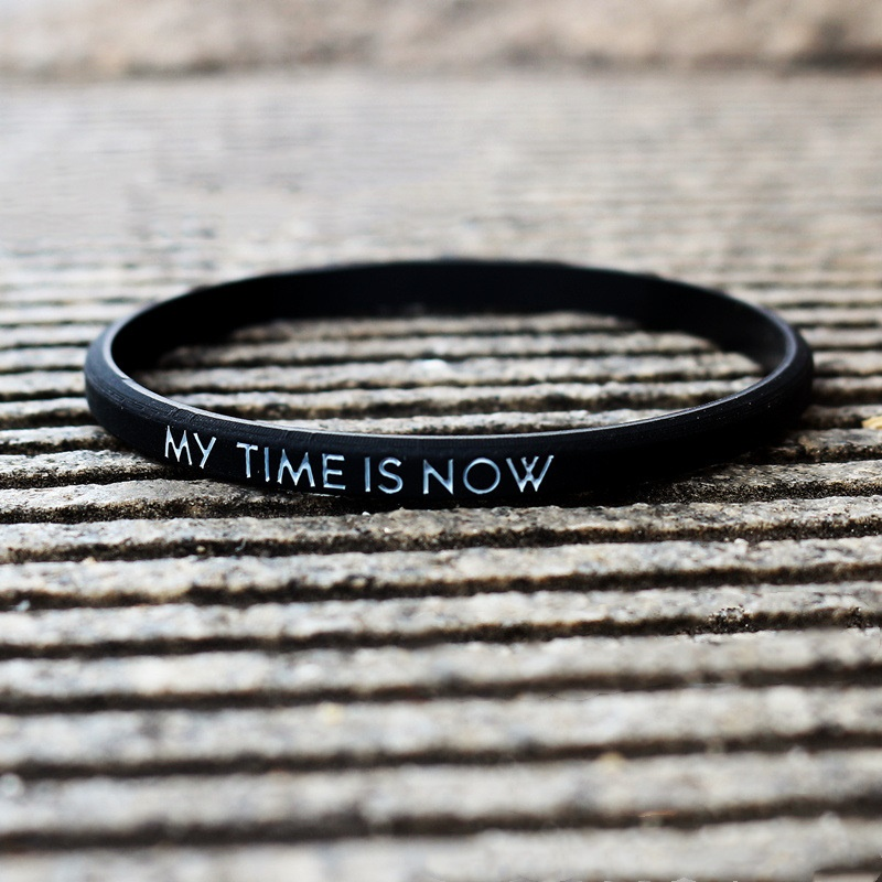 Fashion Couple Silicone Bracelet My Time Is Now Silicone Bracelet Men Women ubber Wristband Outdoor Sports Bangle Strap Gifts