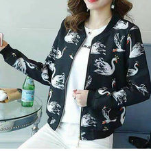 Womens Bomber Jacket Classic Ladies 2019 New Style Zip Up Biker Floral Coats Black(China)
