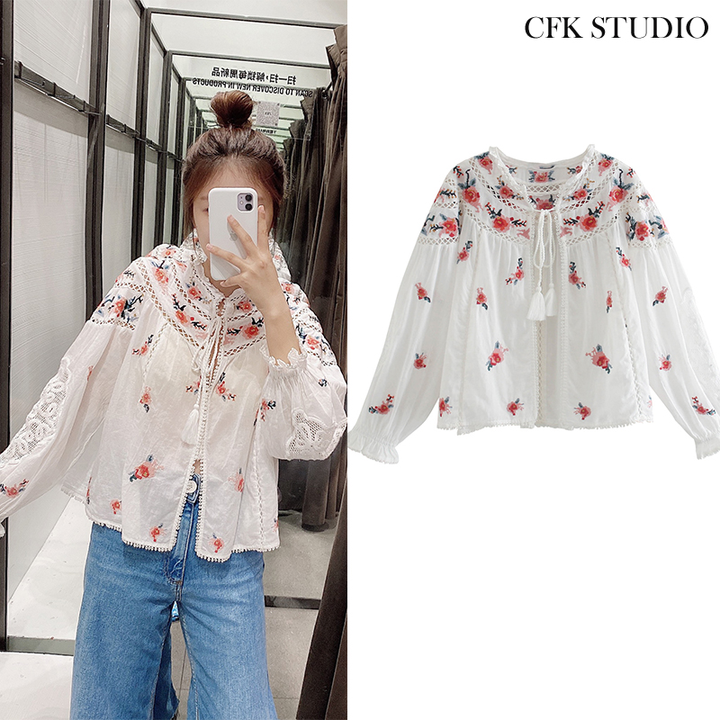 CFK Women Blouse 2020 New Za Fashion Floral Embroidery Long Sleeve Shirts Femme Elegant Casual Loose Chiffon Top|Blouses & Shirts|   - AliExpress