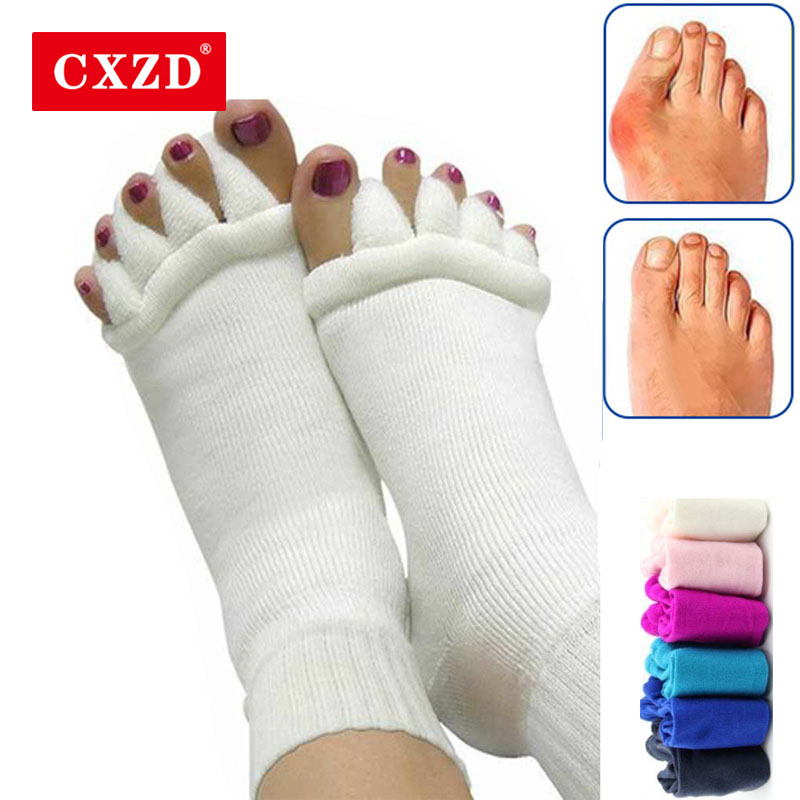 CXZD 1 Pair Yoga Five Finger Socks Orthotics Separators For Toes Bunion Corrector Orthopedic Hallux Valgus Posture Yoga Sock