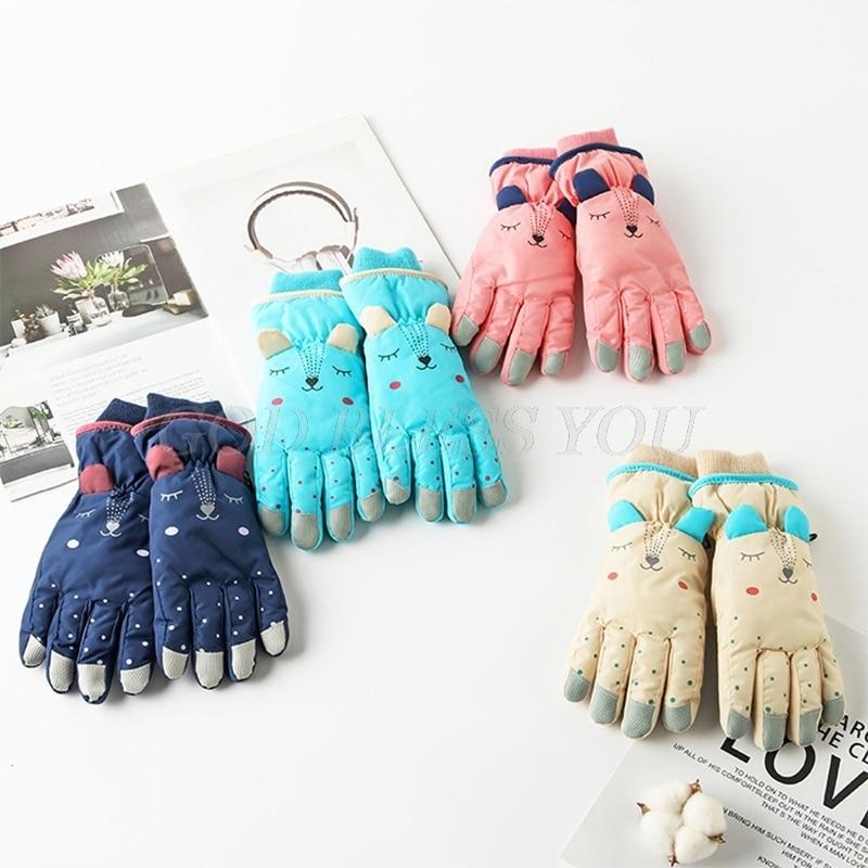 Детские зимние водонепроницаемые зимние перчатки, однотонные теплоизолированные ветрозащитные спортивные теплые варежки с мультяшными ушками для сноуборда и лыж