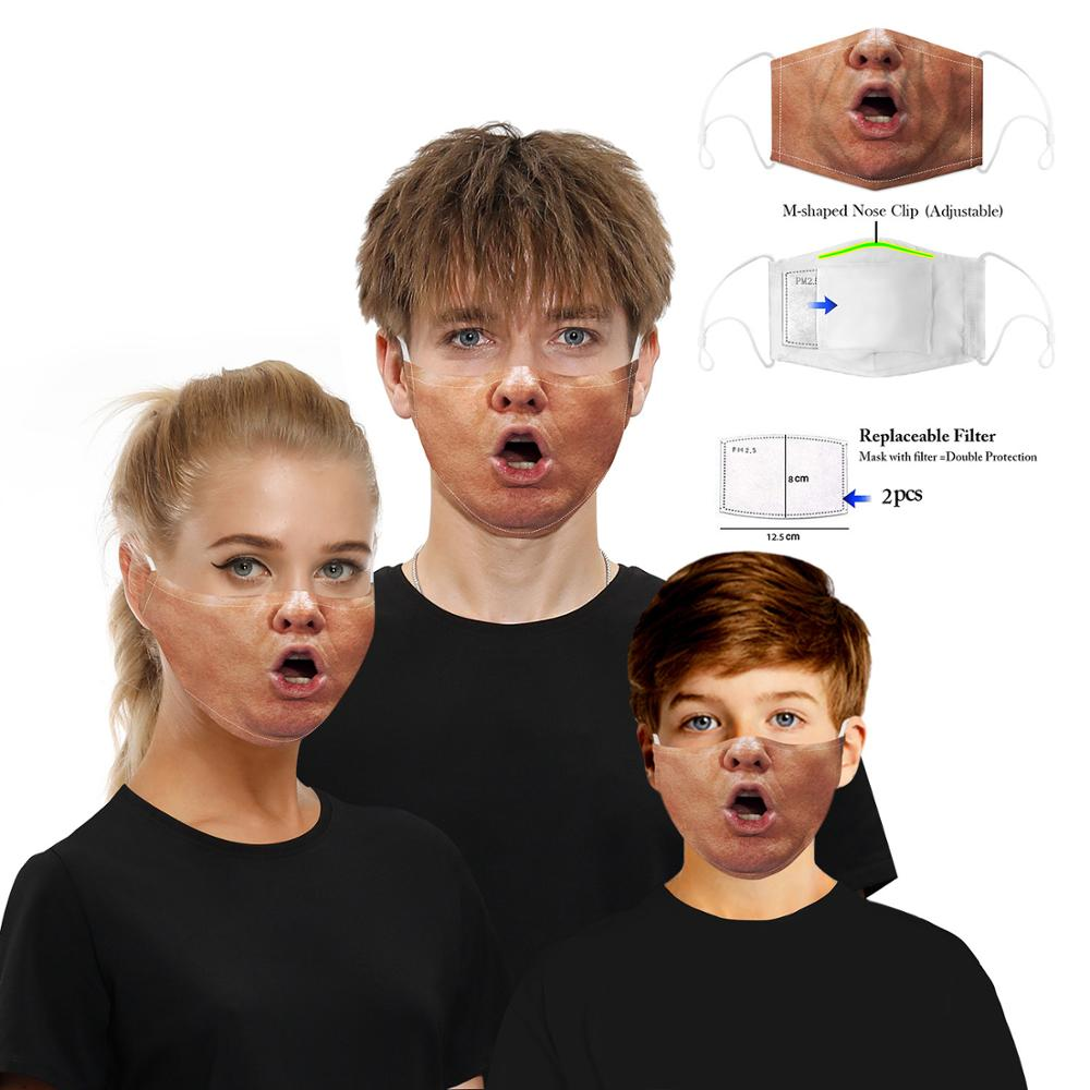 Elifemis Funny Pattem Print Trump Grimace Face Mask Reusable Protective Dustproof Proof Flu Half Mouth Mask With Filter Paper