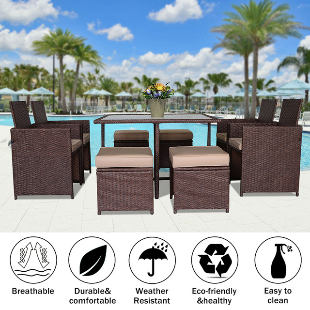 9 Pcs Garden Furniture Sofa Set  4