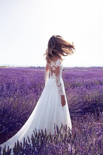 Boho Chiffon Lace Wedding Dress 4