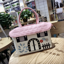 Creative Womens Bag  New Korean Version of The Small House Embroidered Rivet Pu Single Shoulder Diagonal Handbag Hot Sale