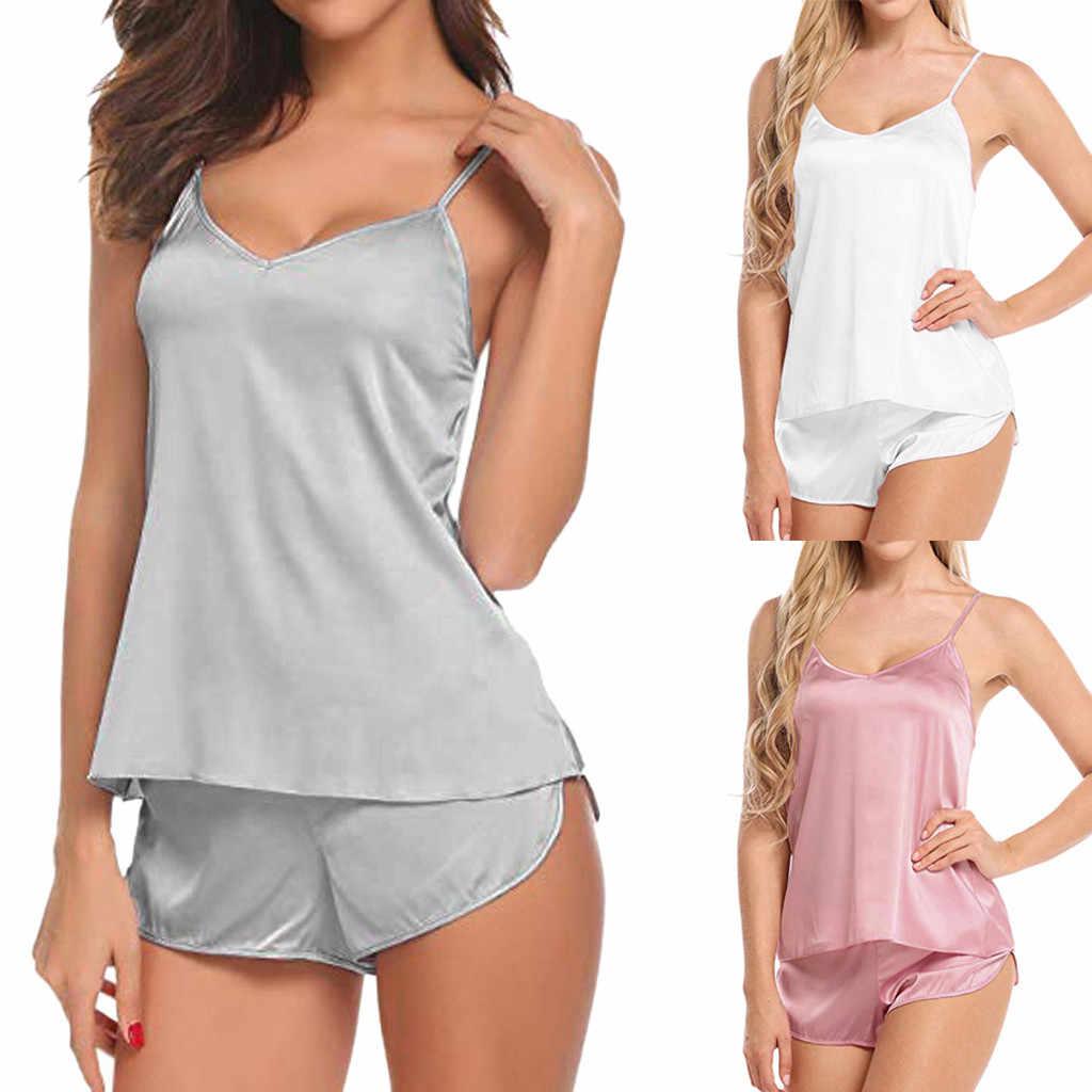 ผู้หญิงชุดนอนเซ็กซี่ชุดซาตินชุดนอนลูกไม้สีขาว V คอชุดชั้นในเซ็กซี่แขนกุด Cami TOP และกางเกงขาสั้น Пижама Женская