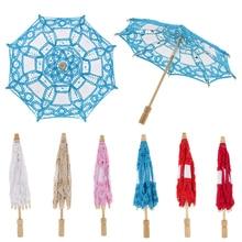Sombrilla Parasol bordada de algodón Vintage blanca, sombrilla para boda, sombrilla de flores para niñas, sombrilla DIY