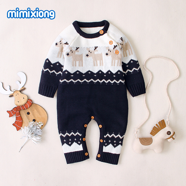 Baby Rompers Christmas Newborn Boys Girls Jumpsuits Costumes Cartoon Knitted Childrens Overalls One Piece Infant Kids Outfits