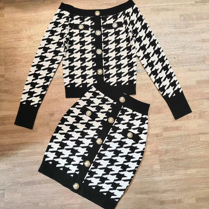 Women Plaid Skirt Suits 2 Piece Sets Autumn Office Lady Knitted Slash Neck Sweater+Skirt Suits Female