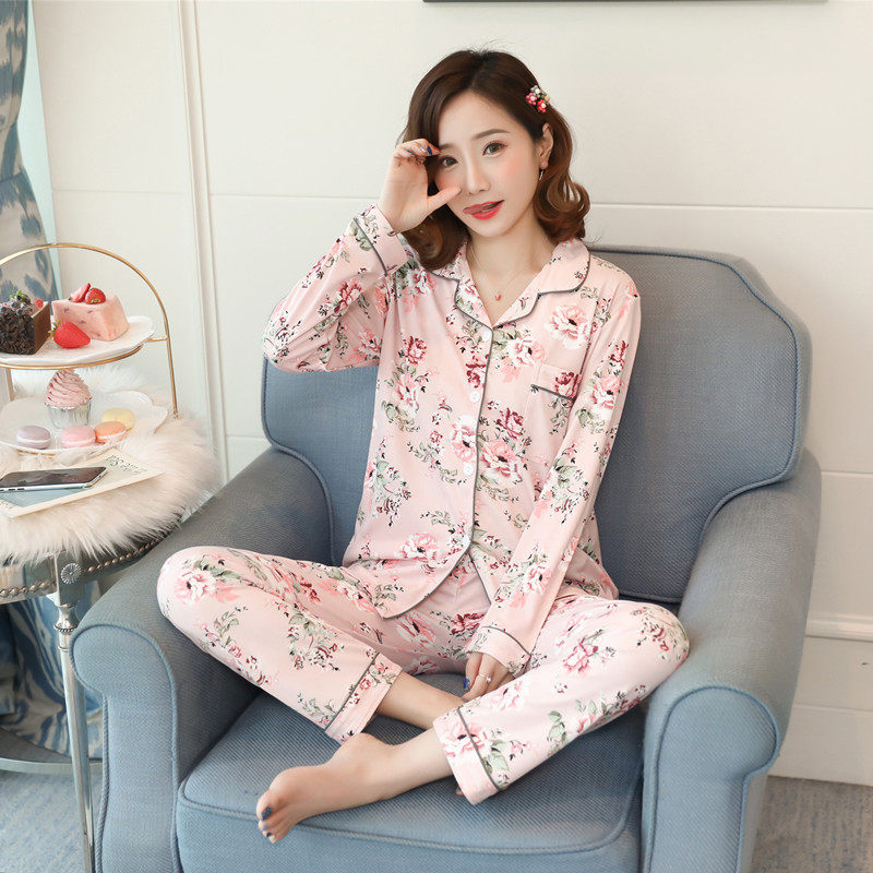 Korean-style Cardigan Fold-down Collar Pajamas Women's Long-Sleeve Loose-Fit Sweet Home Wear Women's Large Size Spring, Autumn A